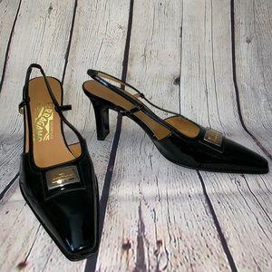 Salvatore Ferragamo black sling back heel, 9.5AA